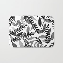 Watercolor branches - black and white Bath Mat