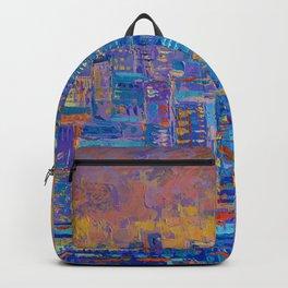 Manhattan, palette knife abstract vibrant new york city skyline sunset cityscape Backpack