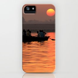 Rowing Boat on the Ganges at Sunrise iPhone Case
