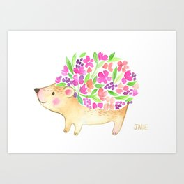 Floral Watercolor Hedgehog Art Print