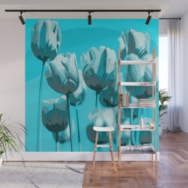 Blue Tulips Wall Mural