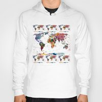modern Hoodies featuring map by mark ashkenazi