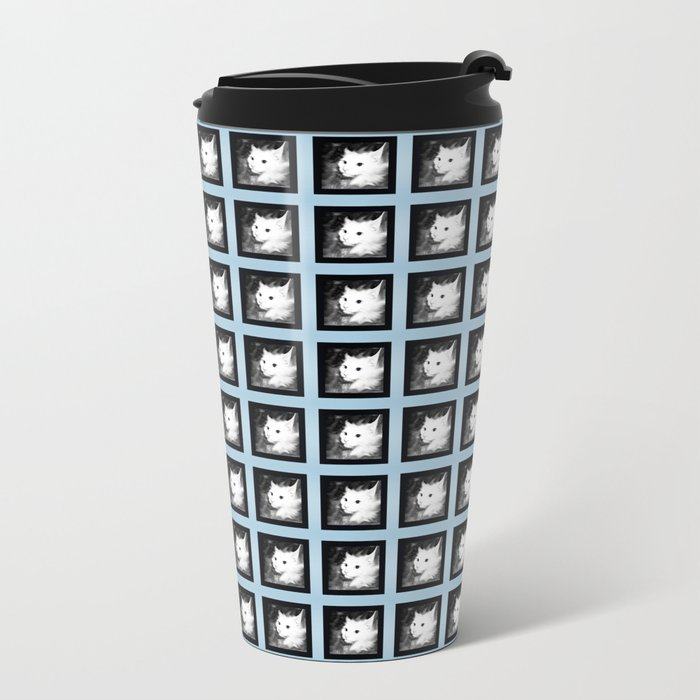 White Cat Metal Travel Mug