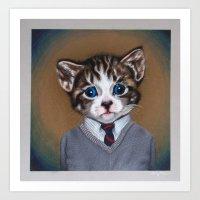 Business casual kitten Art Print