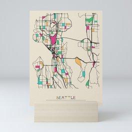 Colorful City Maps: Seattle, Washington Mini Art Print