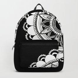 manifestation mandala black background Backpack