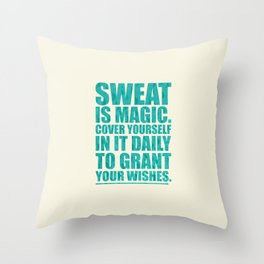 Lab No. 4 - Sweat Is Magic Cover Yourself In It Daily Gym Inspirational Quotes Poster Throw Pillow