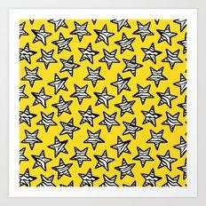Yellow Zebra print stars Art Print