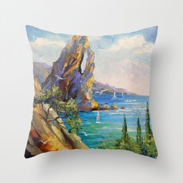 Rock by the sea Throw Pillow