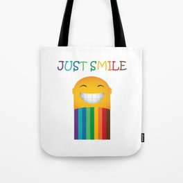 Just Smile Rainbow-Liked Design Tote Bag