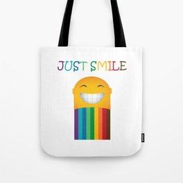 Just Smile Rainbow-Liked Design Tote Bag