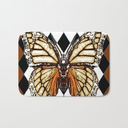 BLACK HARLEQUIN PATTERNED BROWN-WHITE  BUTTERFLY Bath Mat