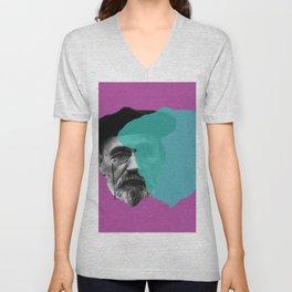 Emile Zola portrait purple blue Unisex V-Neck
