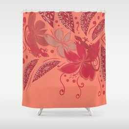 Samoa Watermelon Polynesian Floral Shower Curtain