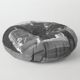 The Gilded Bird Cage, Paris, Eiffel Tower panorama black and white photography / photograph Floor Pillow