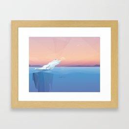 Harp seal on a melting iceberg in the arctic ocean under sunset Framed Art Print
