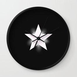 White Star on Black Wall Clock