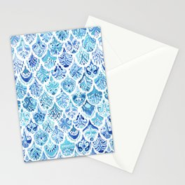 PAISLEY MERMAID Watercolor Scale Pattern Stationery Cards