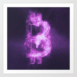 Bitcoin sign. Bitcoin Symbol. Crypto currency symbol. Monetary currency symbol. Abstract night sky b Art Print