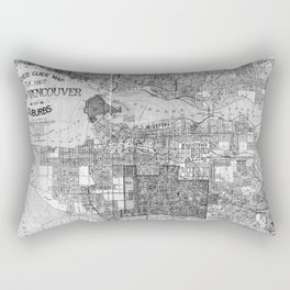 Vintage Map of Vancouver Canada (1920) BW Rectangular Pillow