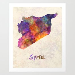 Syria in watercolor Art Print