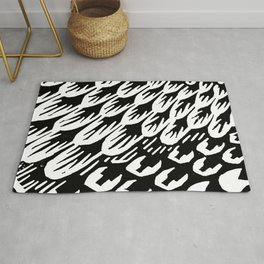 Black and white brush stroke feathers pattern 3 Rug