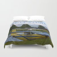 otters Duvet Covers featuring ~ ADVENTURE ~ by Alaskan Momma Bear