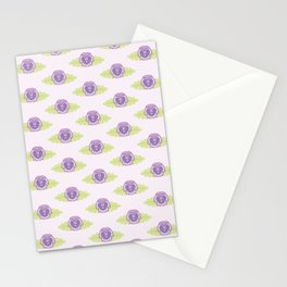 Purple Pansy Flowers Pattern Stationery Cards