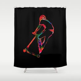 High-flying Scootering - Scooter Boy Shower Curtain