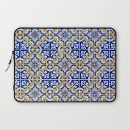 Close-up of blue, white and yellow ceramic wall tiles in Tavira, Portugal Laptop Sleeve