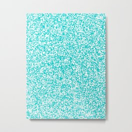 Tiny Spots - White and Cyan Metal Print
