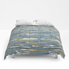 Colorful Stripes, Blue and Mustard Yellow, Abstract Art Comforters