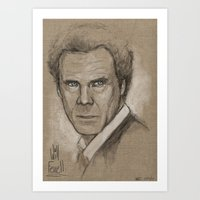 will ferrell Art Prints featuring Will Ferrell Sketch by Jeremy Snow Illustration