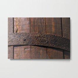 Old wood and rusty metal of a barrel Metal Print