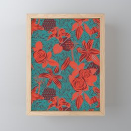 Linocut look in blue with roses Framed Mini Art Print