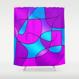 ABSTRACT CURVES #1 (Purples, Violets, Fuchsias & Turquoises) Shower Curtain