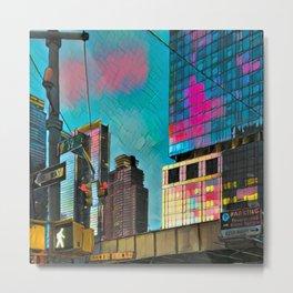 NYC Skyline at Sunset Metal Print