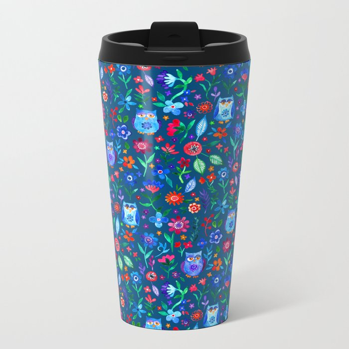 Little Owls and Flowers on deep teal blue Metal Travel Mug