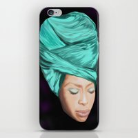 erykah badu iPhone & iPod Skins featuring Badu by Courtney James