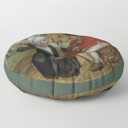 """Pieter Brueghel II (The Younger) """"A peasant holding a hen and a peasant woman holding a spindle"""" Floor Pillow"""