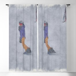 Sliding into Home - Winter Snowboarder Blackout Curtain