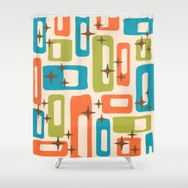 Retro Mid Century Modern Abstract Pattern 921 Orange Chartreuse Turquoise Shower Curtain