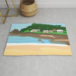 A View of the Popular St Brelade's Bay in Jersey Channel Islands Rug
