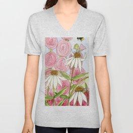Pink Hollyhock and White Coneflower Garden Flowers Unisex V-Neck