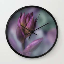 Hosta Flower Bud Purple And Green Wall Clock
