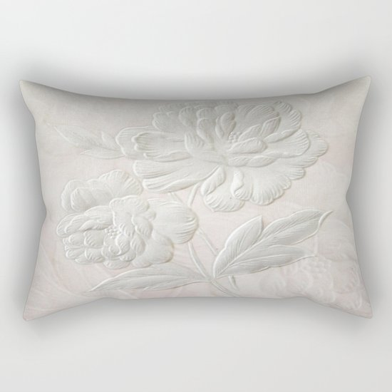 Embossed Painterly White Floral Abstract Rectangular Pillow