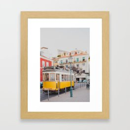 Yellow Tram in Lisbon Framed Art Print