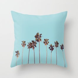 palm trees turquoise Throw Pillow