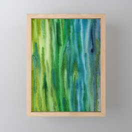 Blue-Green Woodgrain Abstract Framed Mini Art Print