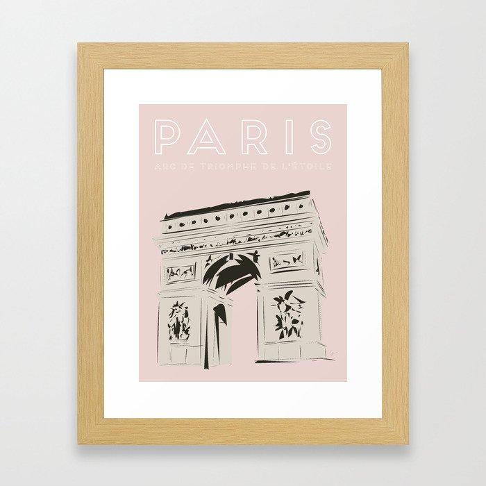 Paris Arc de Triomphe de l'Étoile Travel Poster Gerahmter Kunstdruck